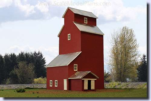 HO Scale model train grain elevator